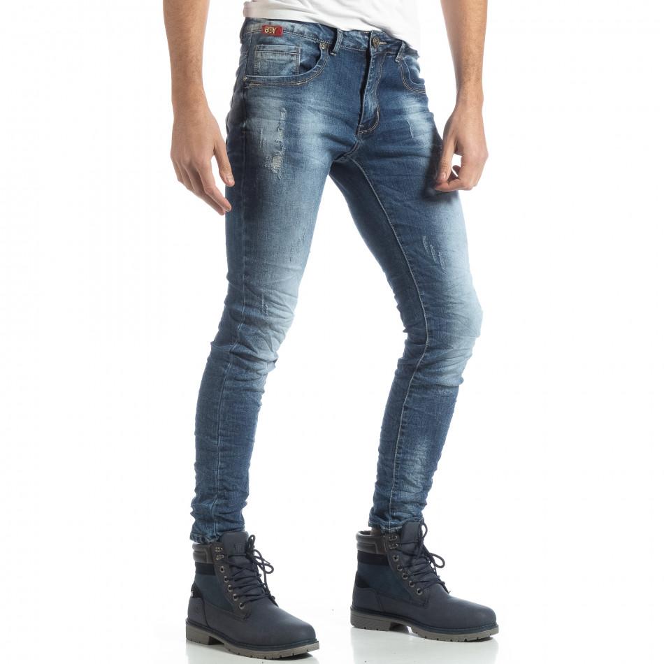 Сини мъжки дънки Slim fit с прокъсвания it051218-5