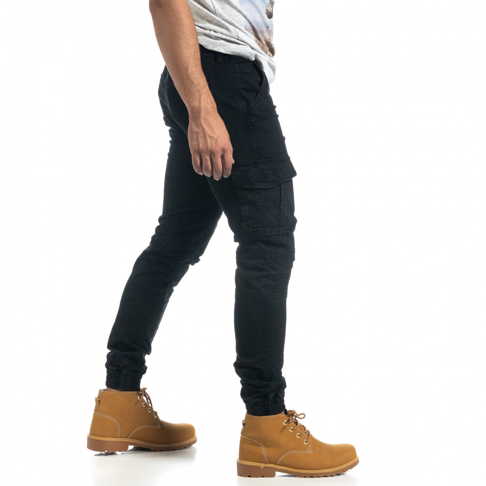 Мъжки рокерски карго панталон в черно it041019-40
