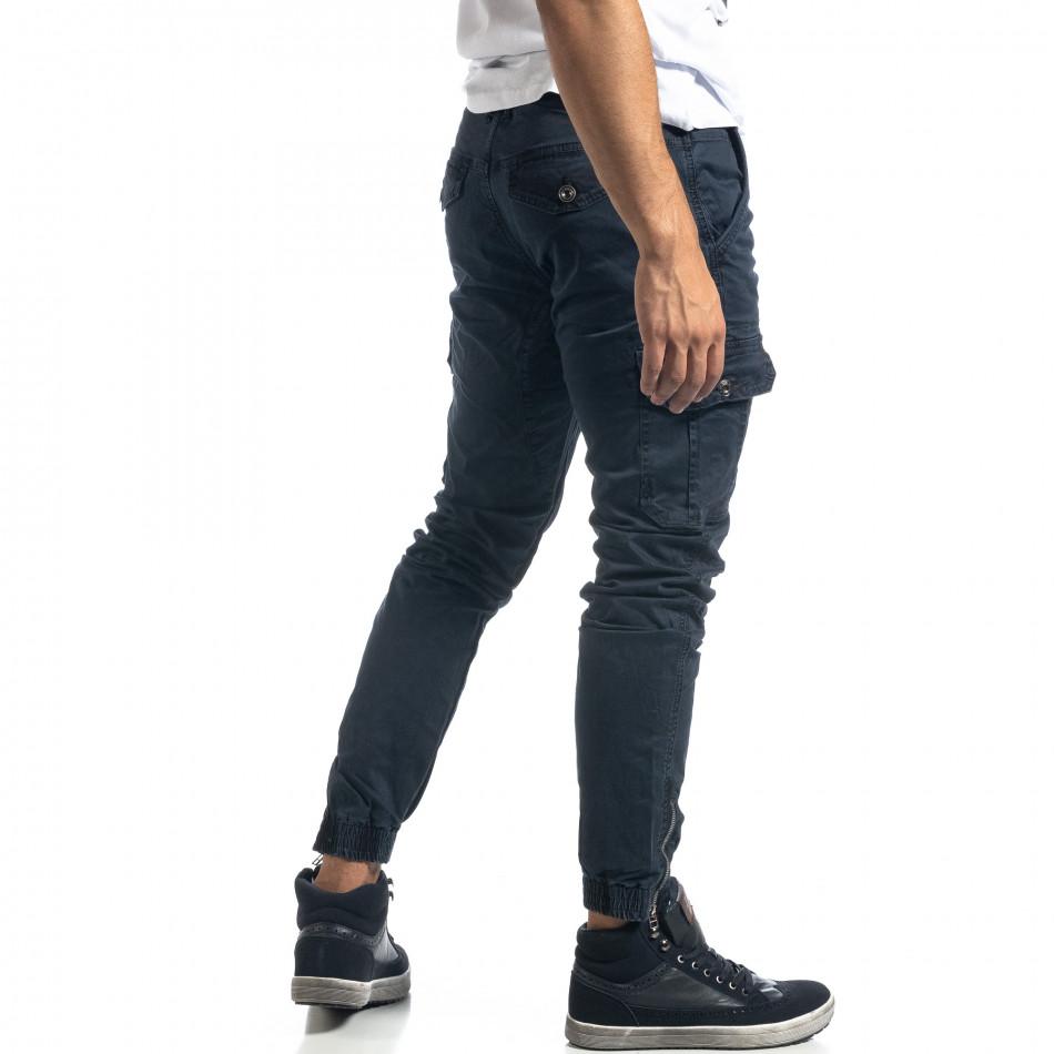 Син мъжки карго панталон с ципове it041019-43