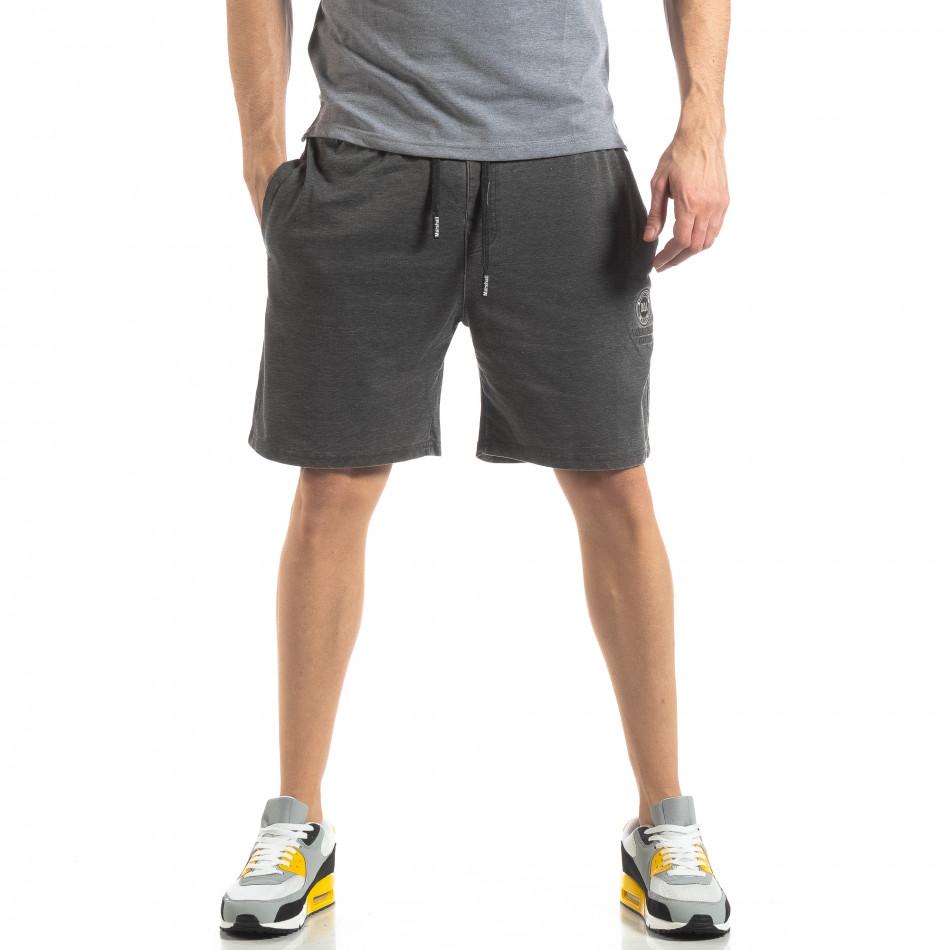 Мъжки сиви шорти избелял ефект it210319-64