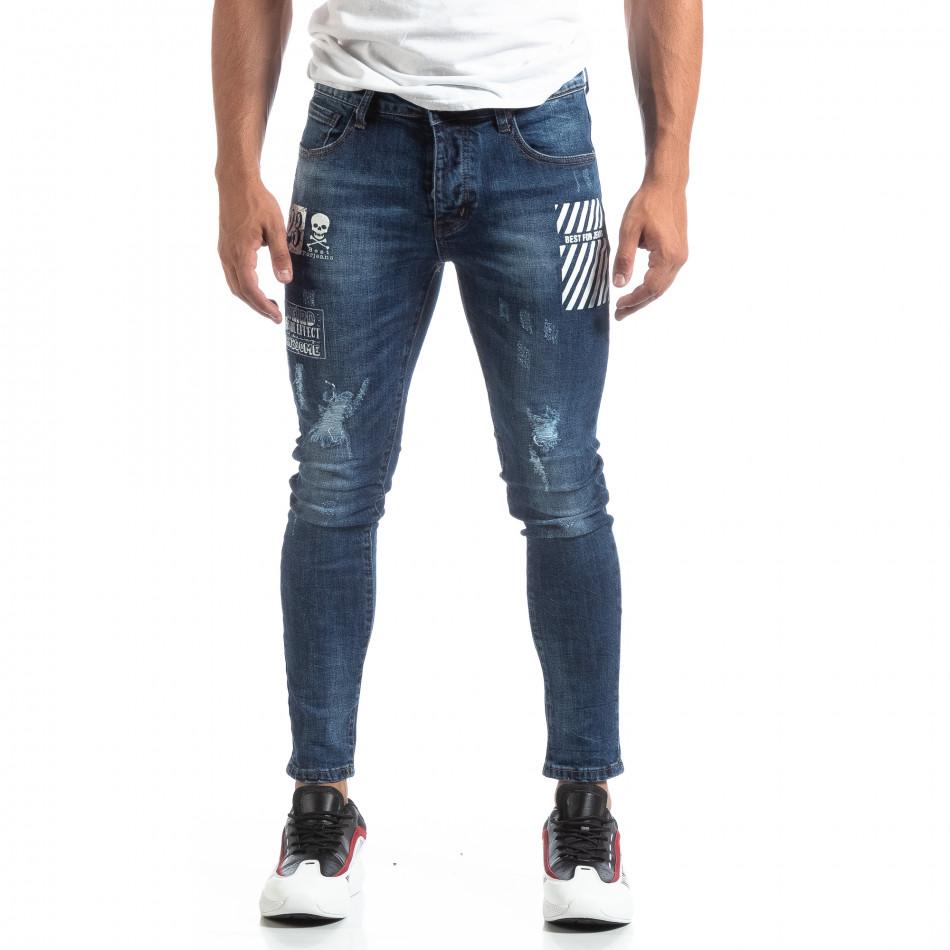 Сини мъжки прокъсани дънки с принт it170819-49