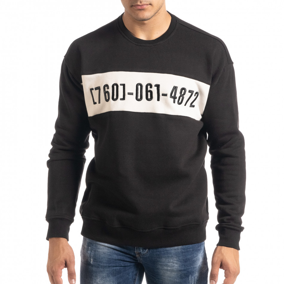 Ватирана блуза тип суичър в черно it041019-54