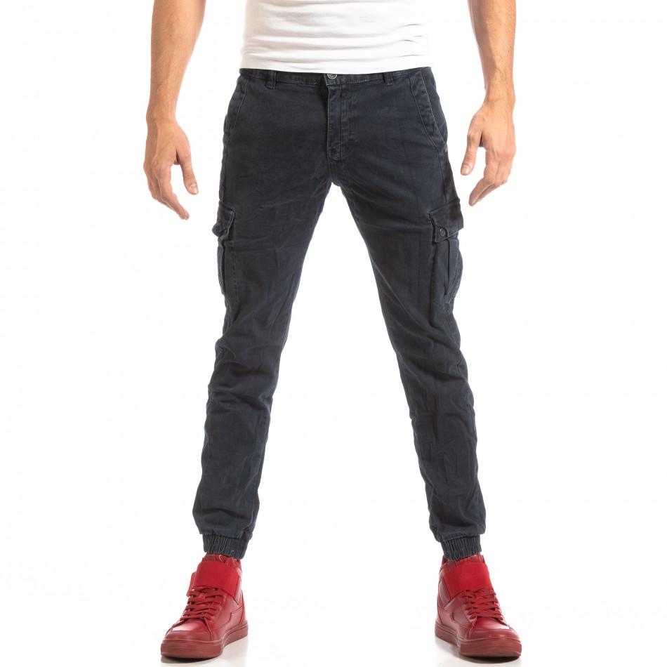 Син карго панталони с ластик на глезена it261018-23