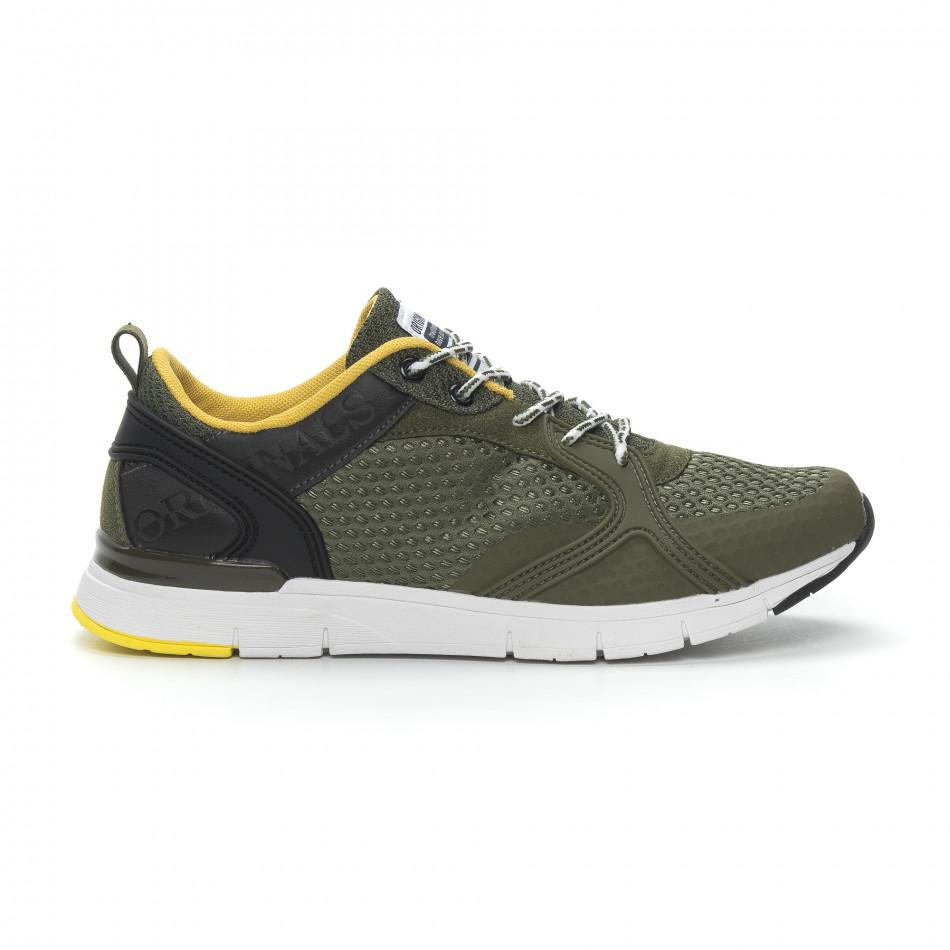 Мъжки маратонки в зелено с гумени декорации it150319-31