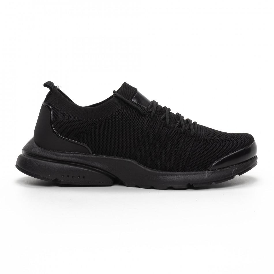 Леки мъжки маратонки тип чорап в черно it240419-23
