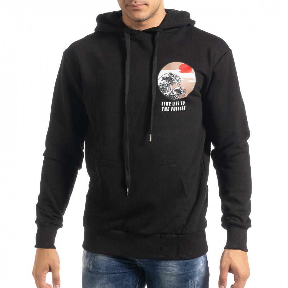 Памучен черен суичър с принт на гърба it041019-52