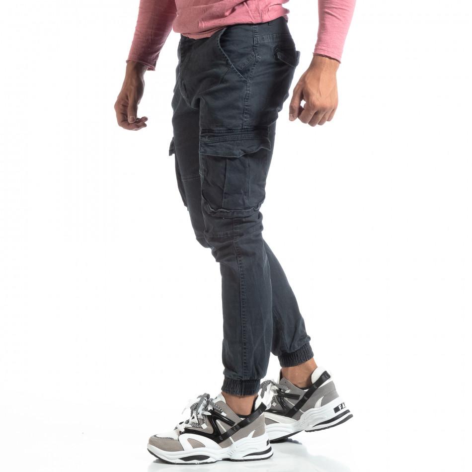 Сив мъжки карго панталон с ластични маншети it170819-19