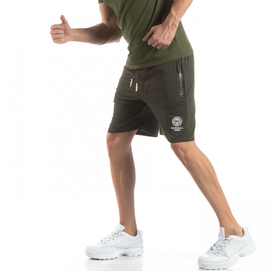 Мъжки спортни шорти в зелено it210319-69