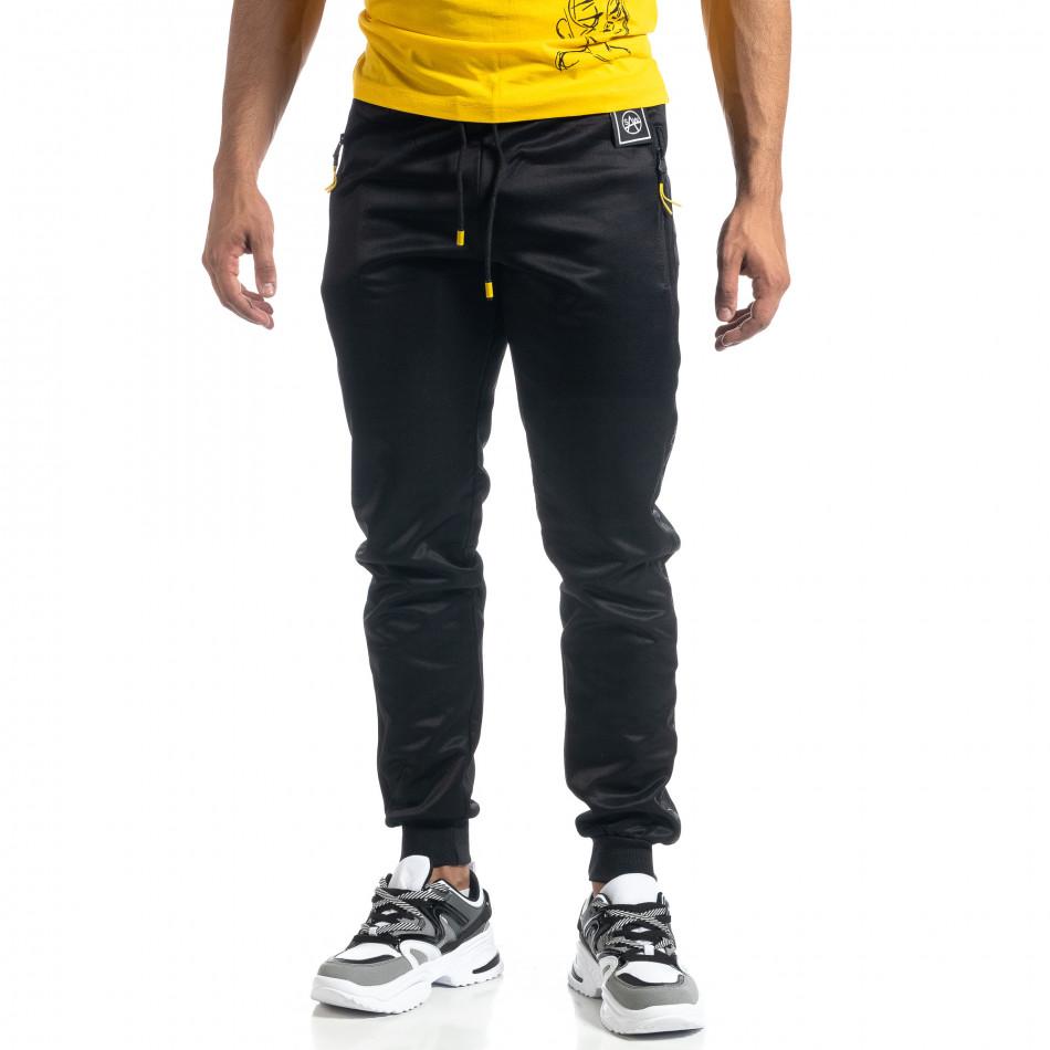 Черен мъжки джогър с принт кант Black Sport it041019-1