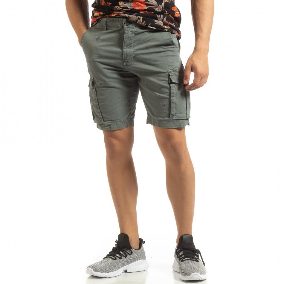 Къси карго панталони в сиво с детайл it090519-28