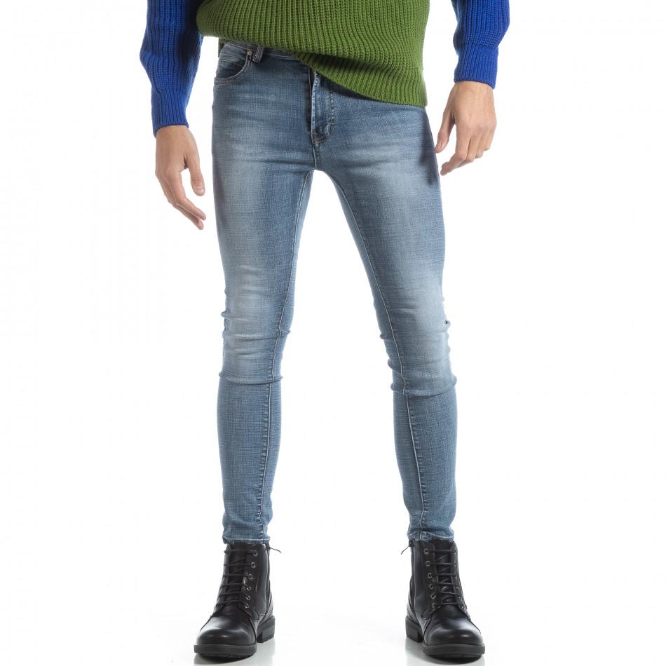 Мъжки дънки Skinny в синьо Stone washed it051218-2