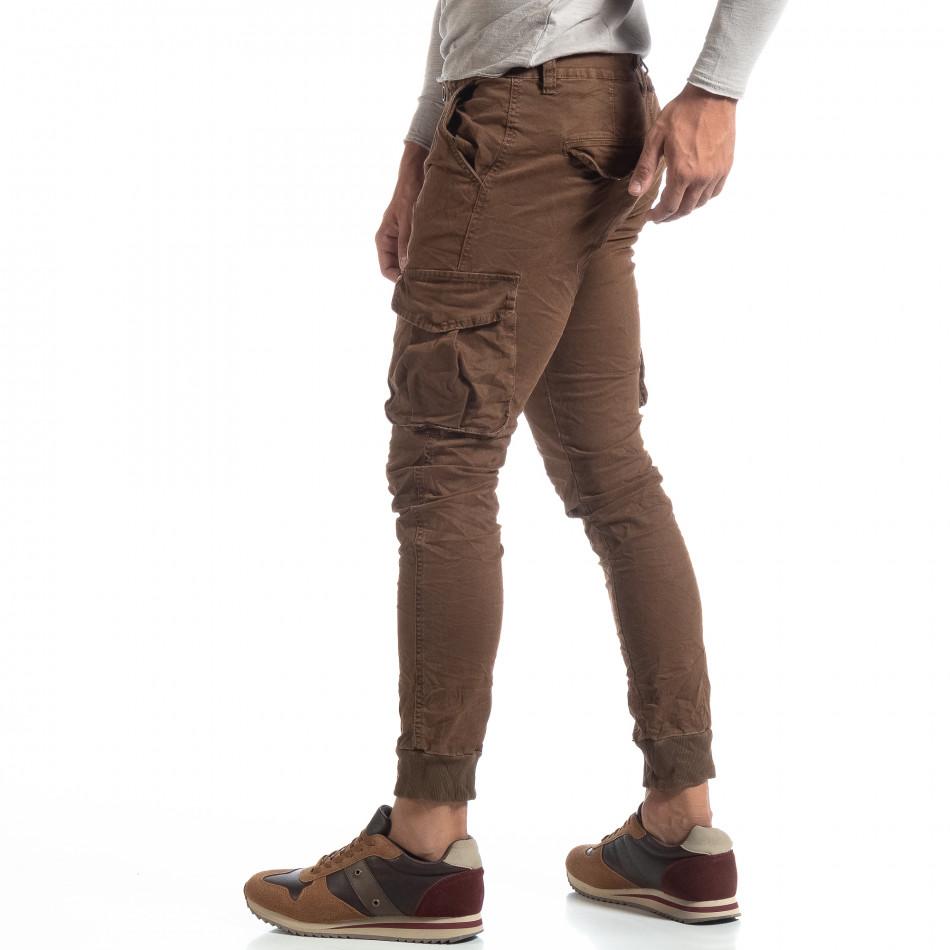 Мъжки намачкан панталон Cargo в цвят кафе it170819-18