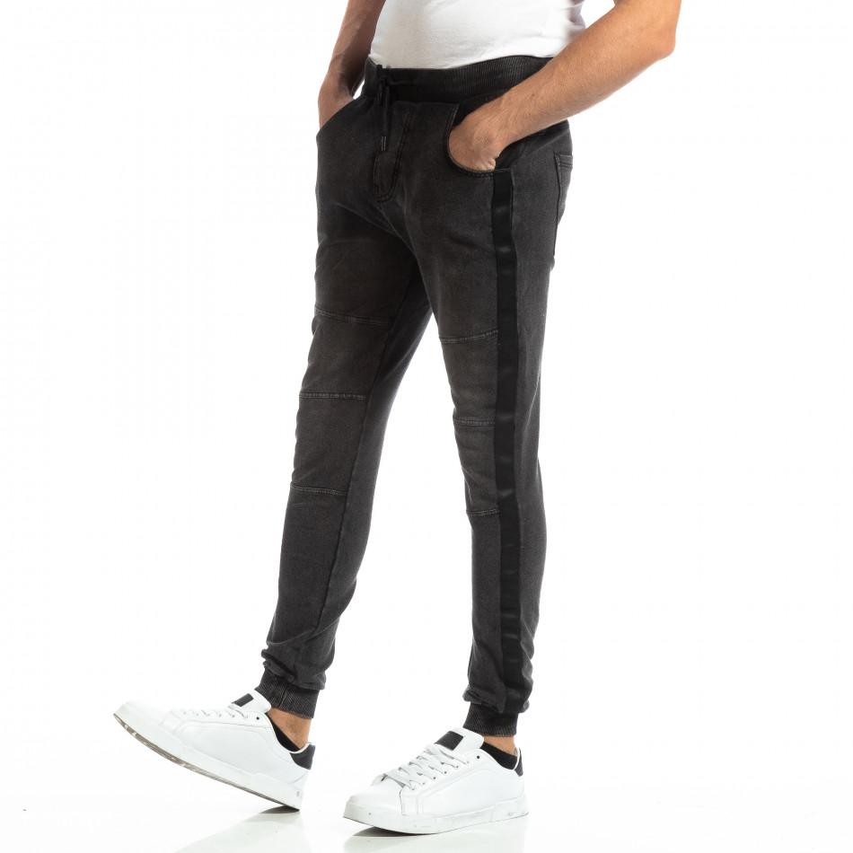 Рокерски мъжки Jogger в цвят черен деним it261018-48