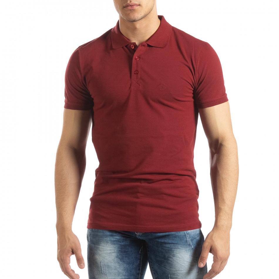 Фина мъжка тениска Polo shirt в тъмно червено it150419-95