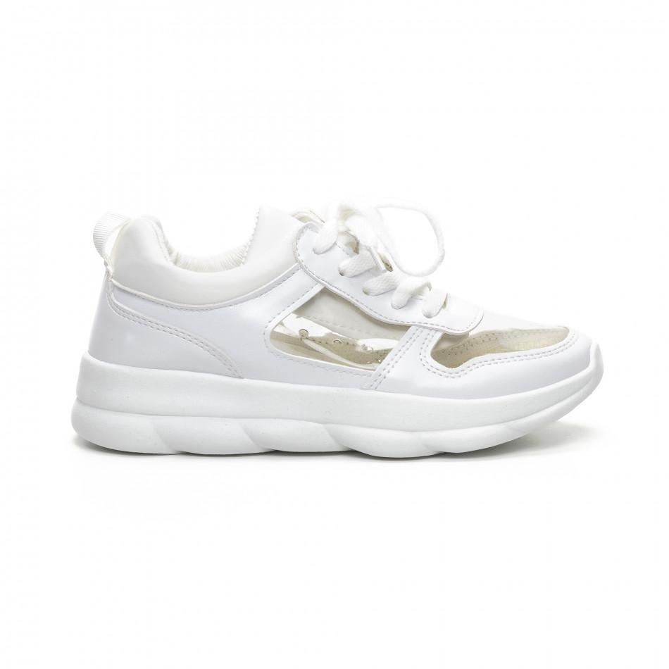 Бели дамски маратонки с прозрачни части it240419-55