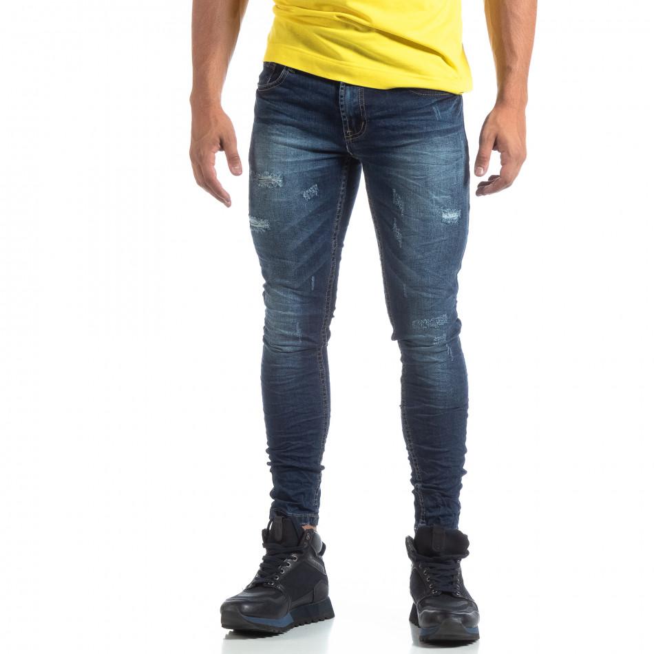 Skinny мъжки сини дънки с прокъсвания it170819-47