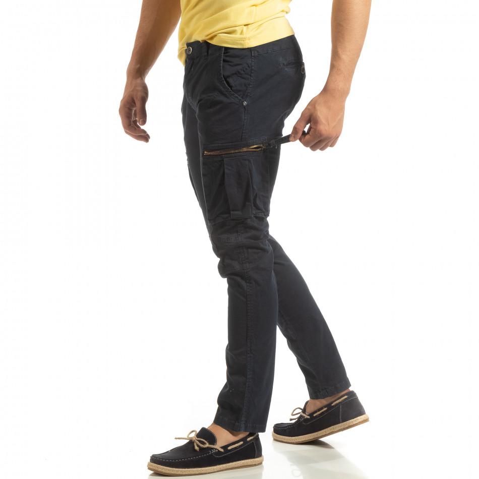 Син мъжки карго панталон с прави крачоли it090519-13
