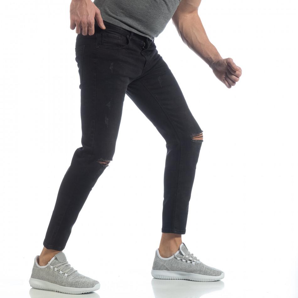 Еластични мъжки дънки Slim fit в черно it040219-19
