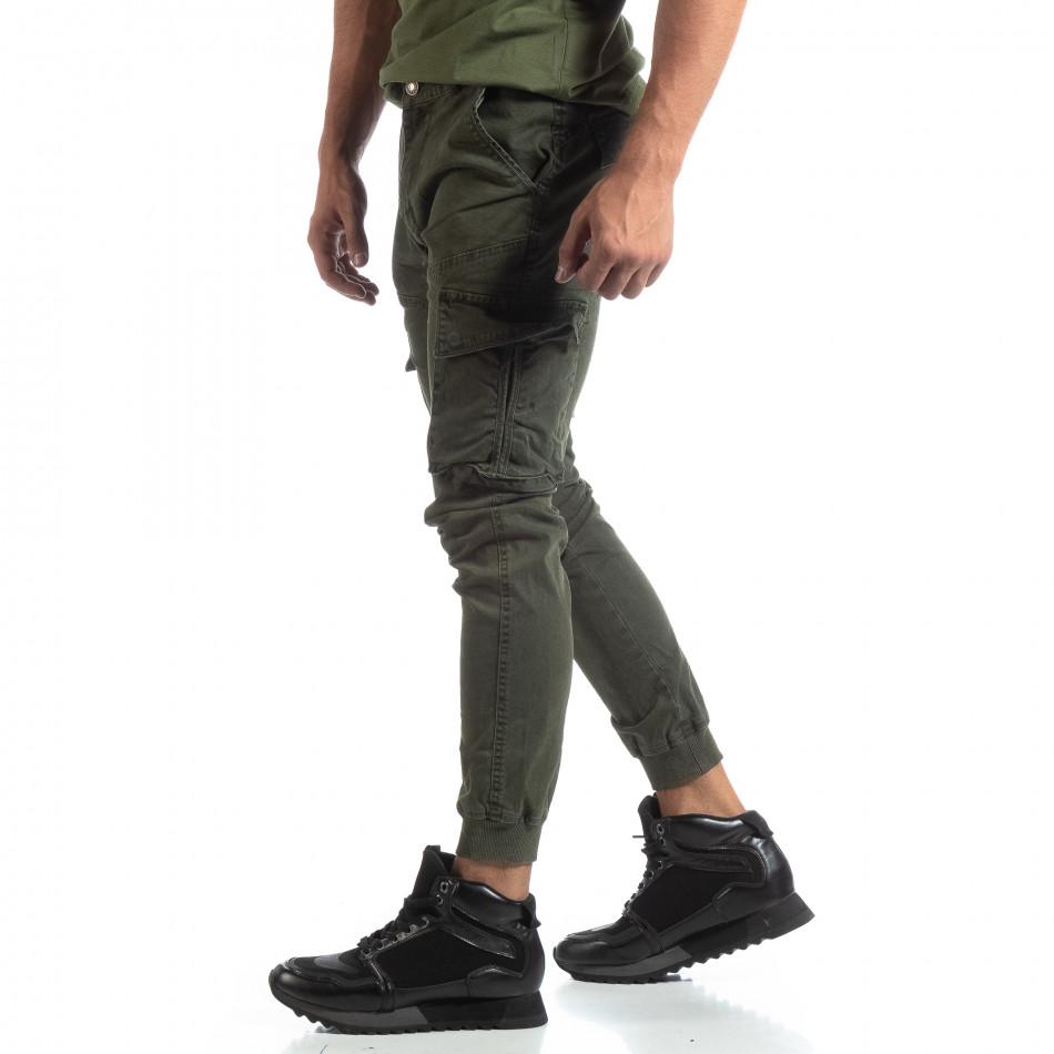Мъжки зелен карго панталон с маншети трико it170819-12