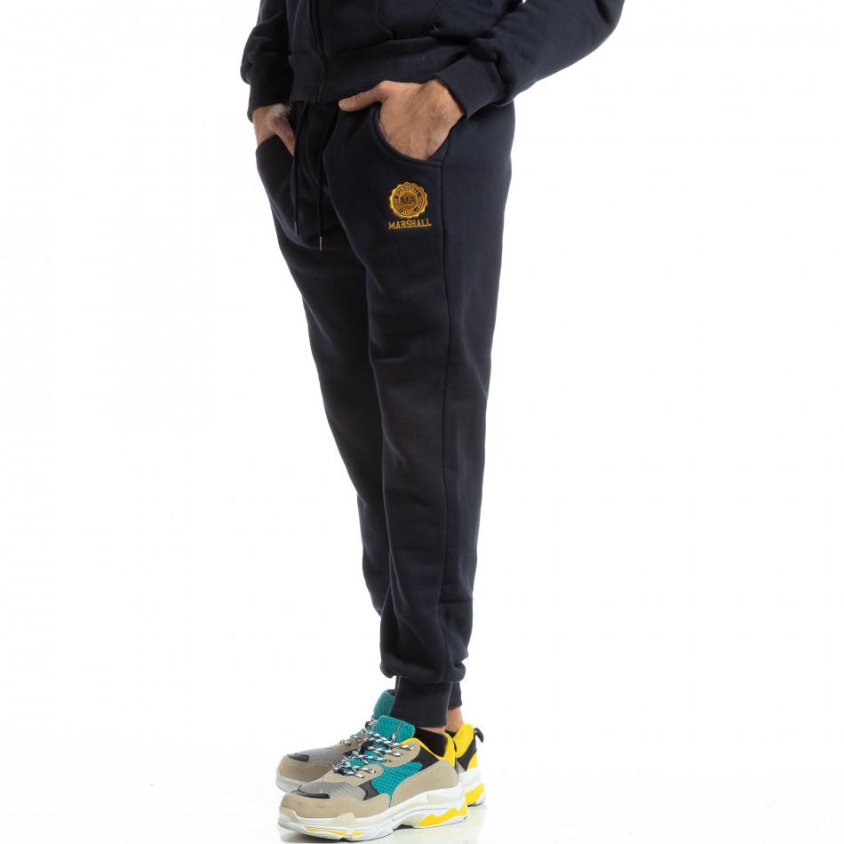 Синьо мъжко памучно долнище с жълто лого it261018-60