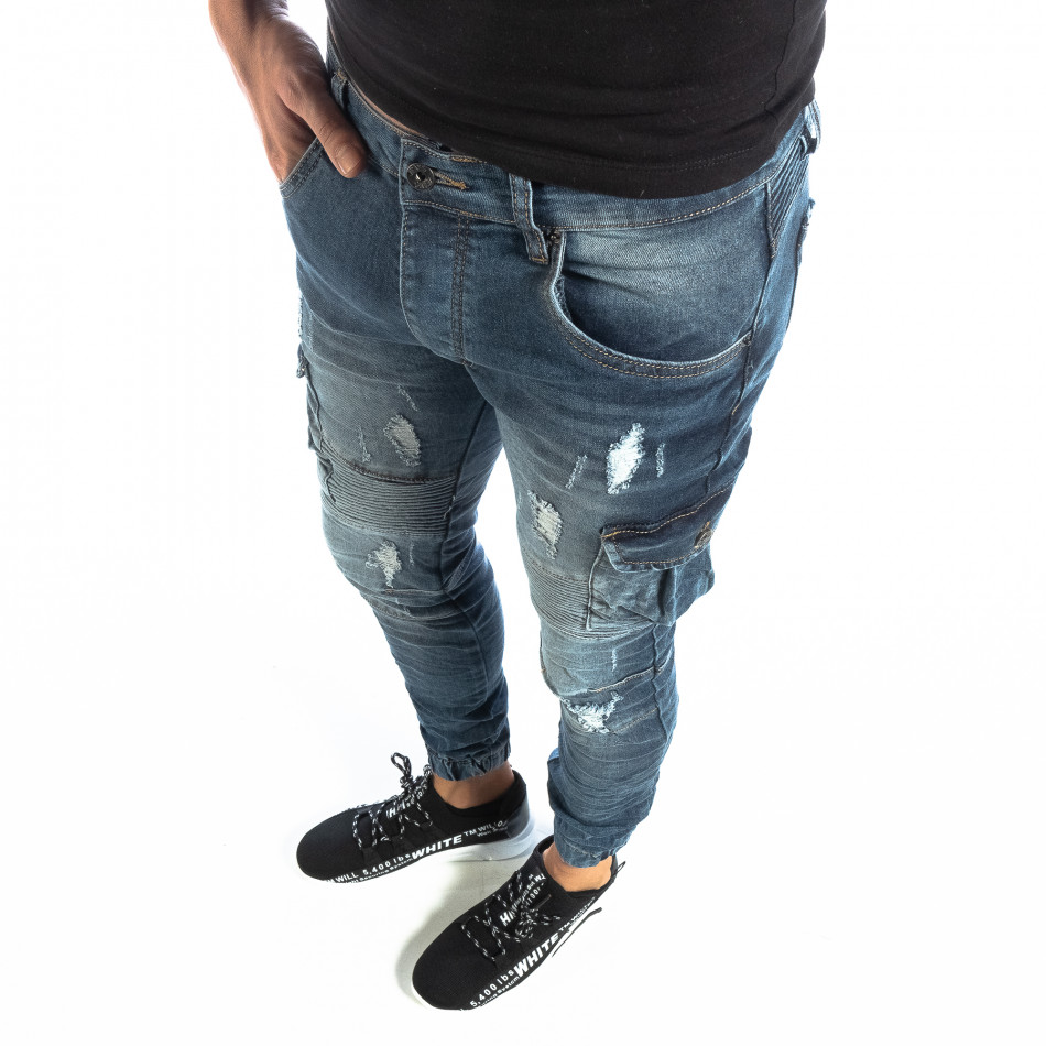 Рокерски мъжки Cargo Jeans в синьо it040219-17