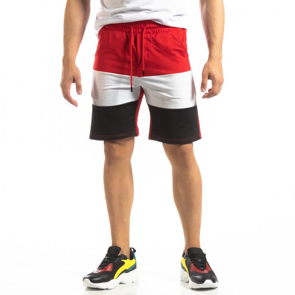 Червени мъжки шорти с бяло и черно it150419-31