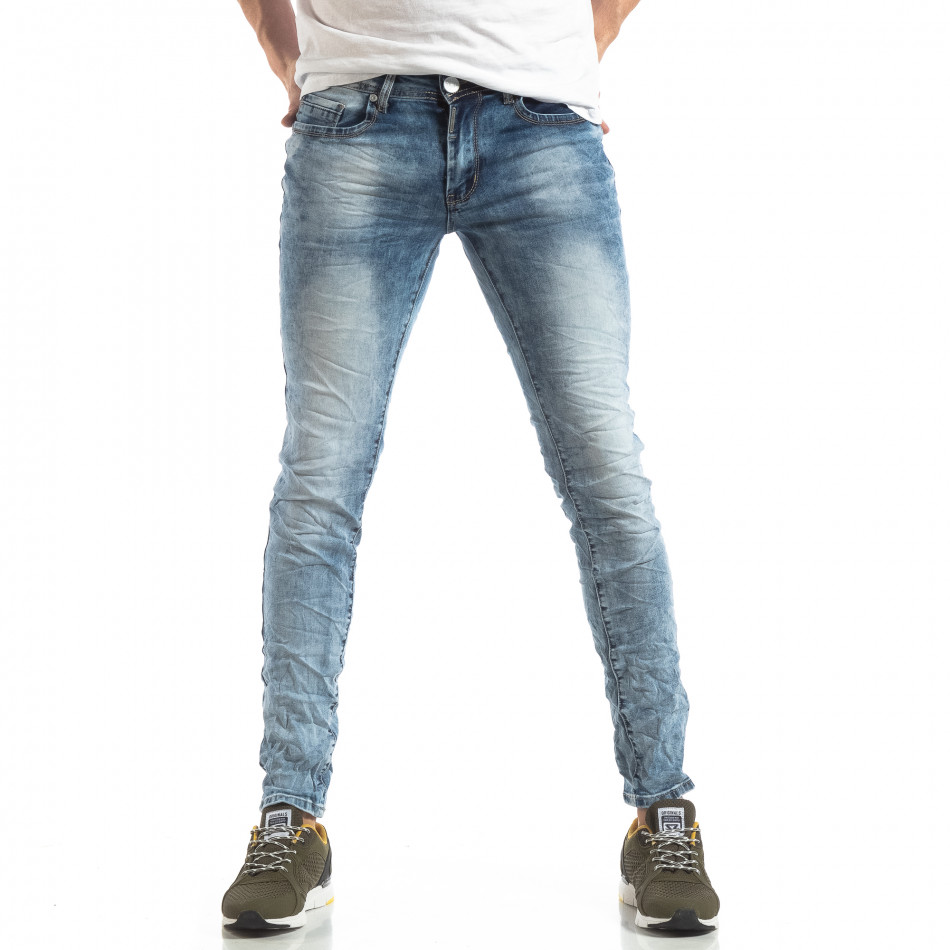 Мъжки Washed Slim Jeans в синьо it210319-14