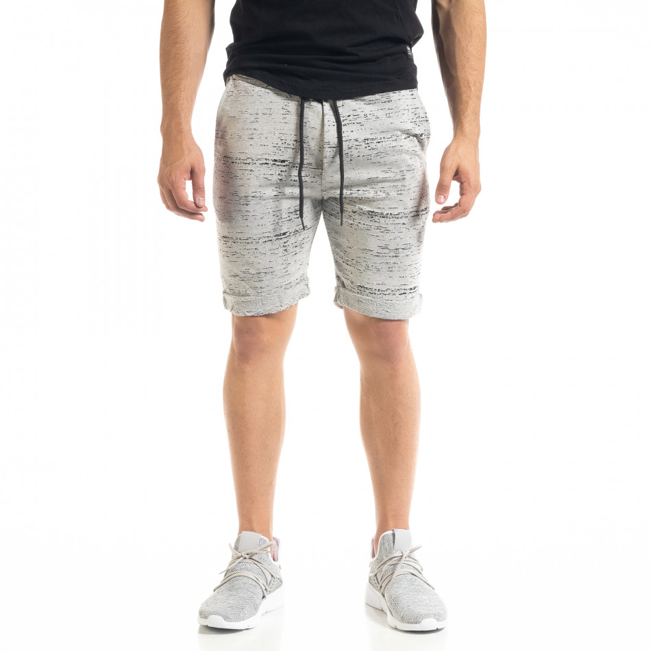 Мъжки трикотажни шорти сиво и черно it050620-17