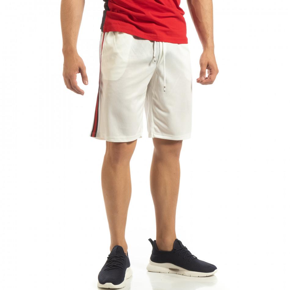 Ултралеки мъжки шорти в бяло с кантове it090519-49