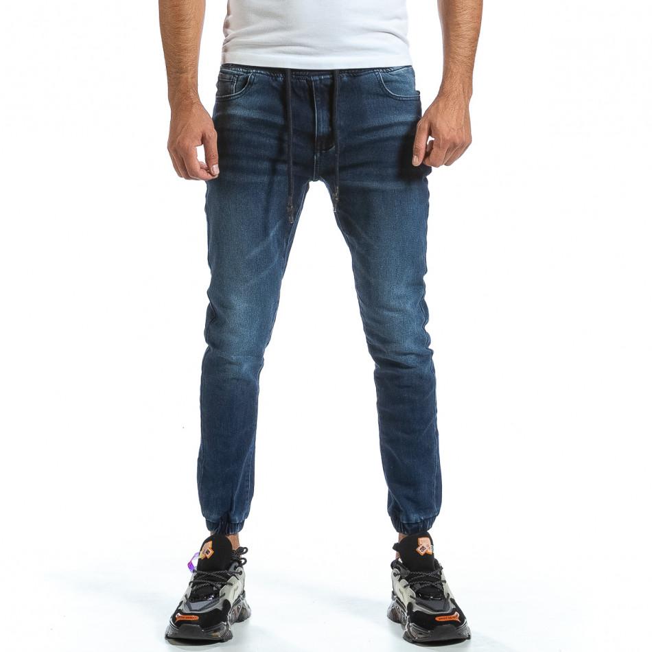 Мъжки сини дънки с ластик на кръста и крачолите it070921-6