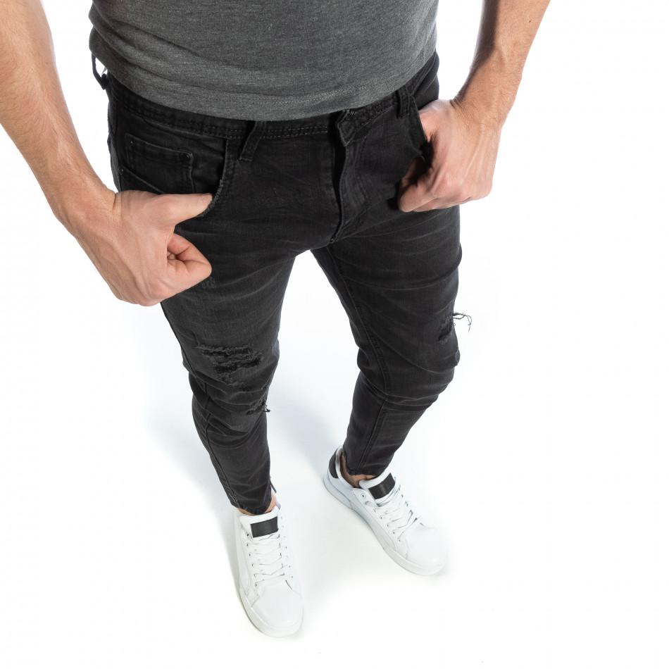 Черни мъжки дънки Slim fit с прокъсвания it040219-4