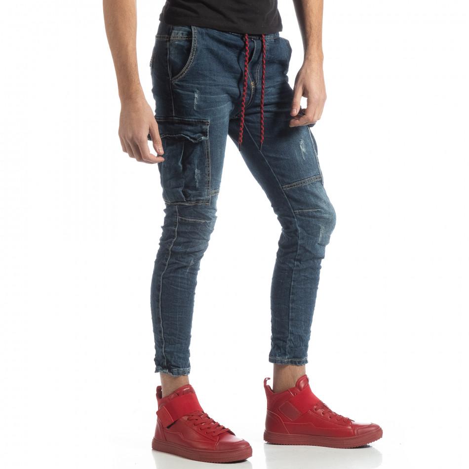 Мъжки сини дънки Cargo  it051218-12