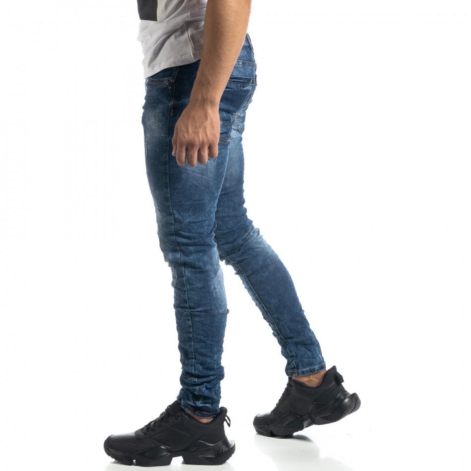 Сини мъжки дънки състарен ефект Slim fit it041019-33