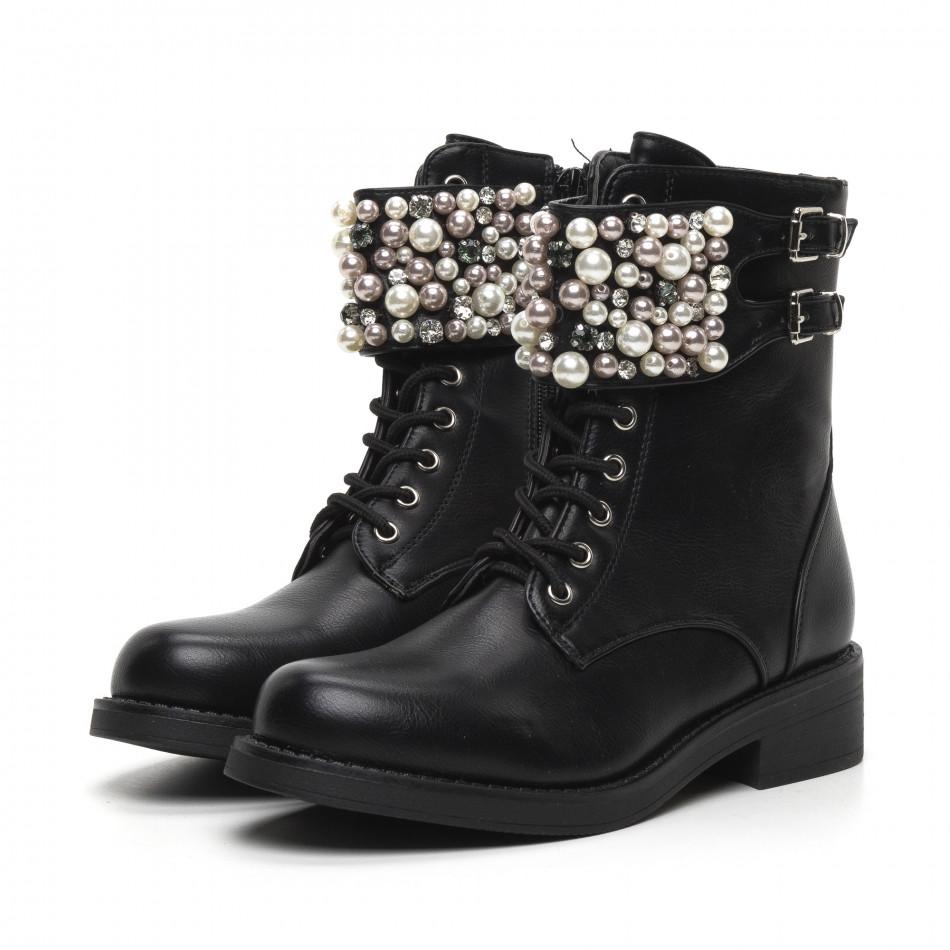 Дамски черни боти с перли и камъни. Размер 37 it260919-70-1