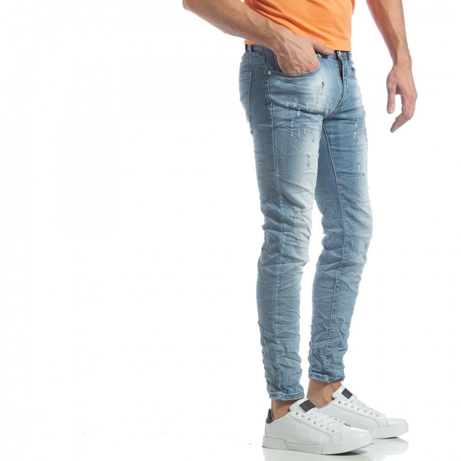 Slim fit мъжки прокъсани дънки светъл деним it040219-12
