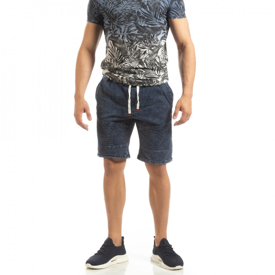 Трикотажни мъжки дънкови шорти в синьо it090519-51