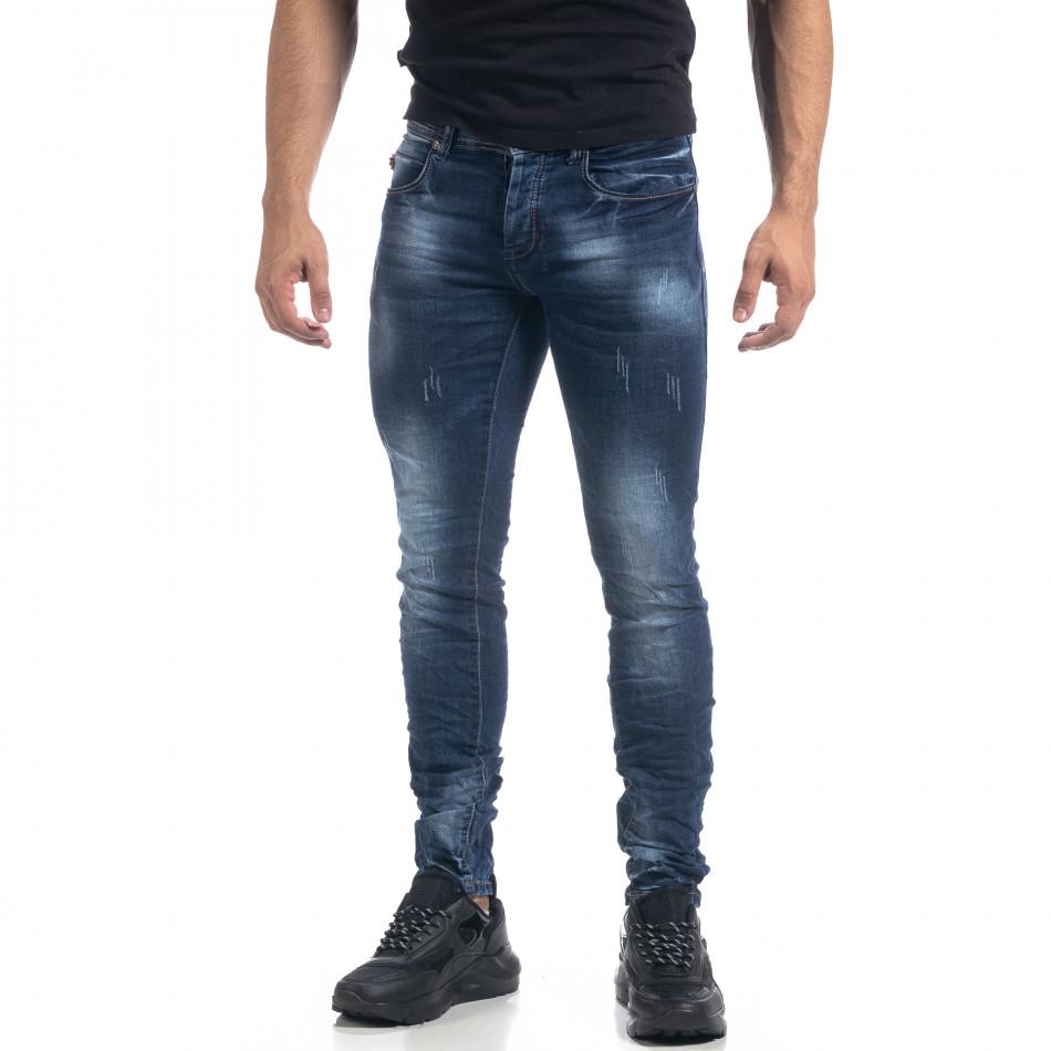 Мъжки сини дънки с ефекти Fashion Slim fit  it071119-14