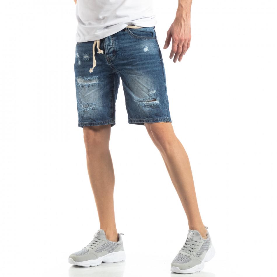 Мъжки сини къси дънки с прокъсвания it210319-30