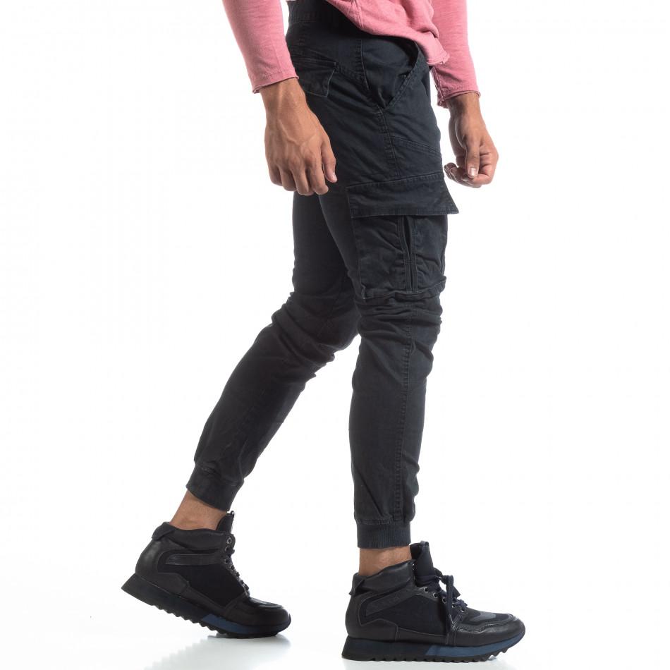 Мъжки черен карго панталон с маншети трико it170819-10
