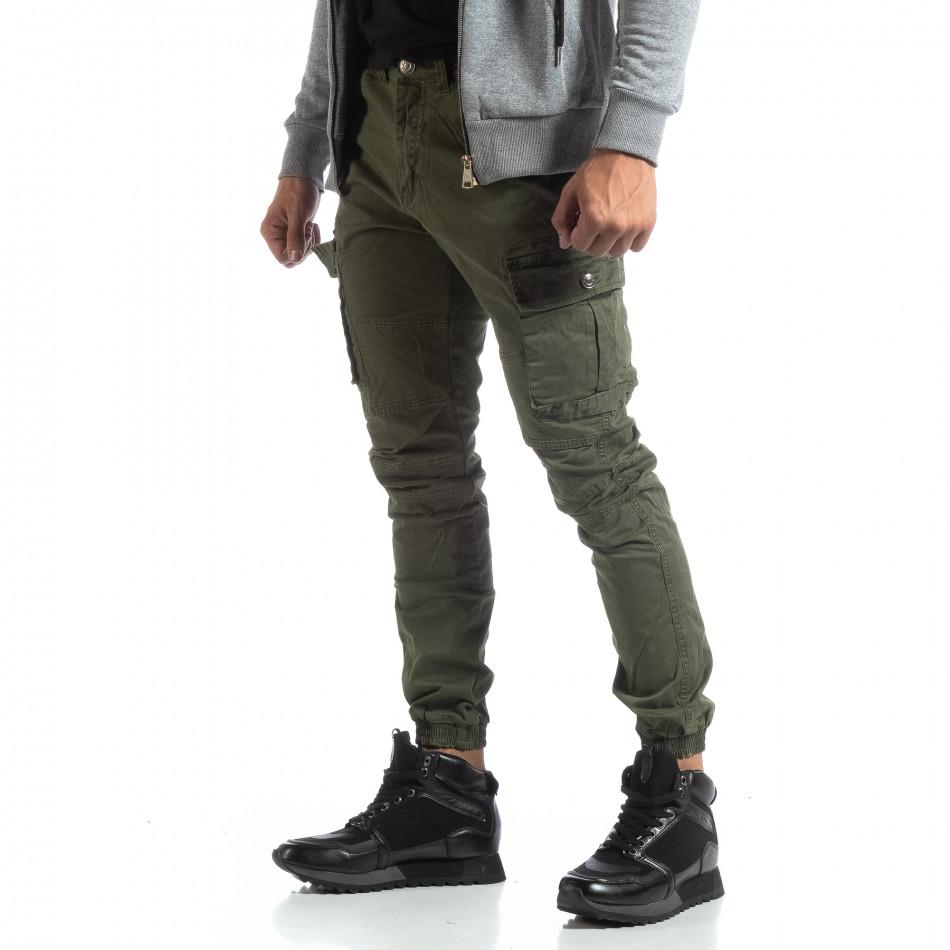 Мъжки зелен рокерски панталон с карго джобове it170819-4