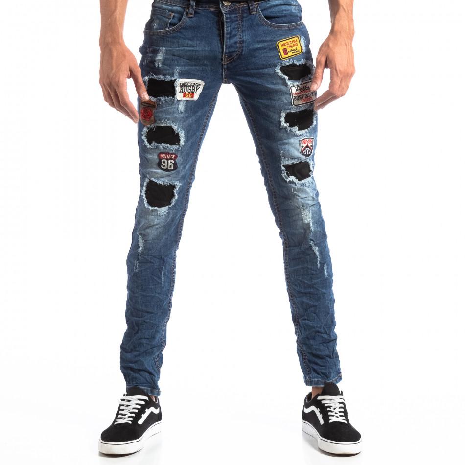 Мъжки сини Slim Jeans с апликации и кръпки it260918-1