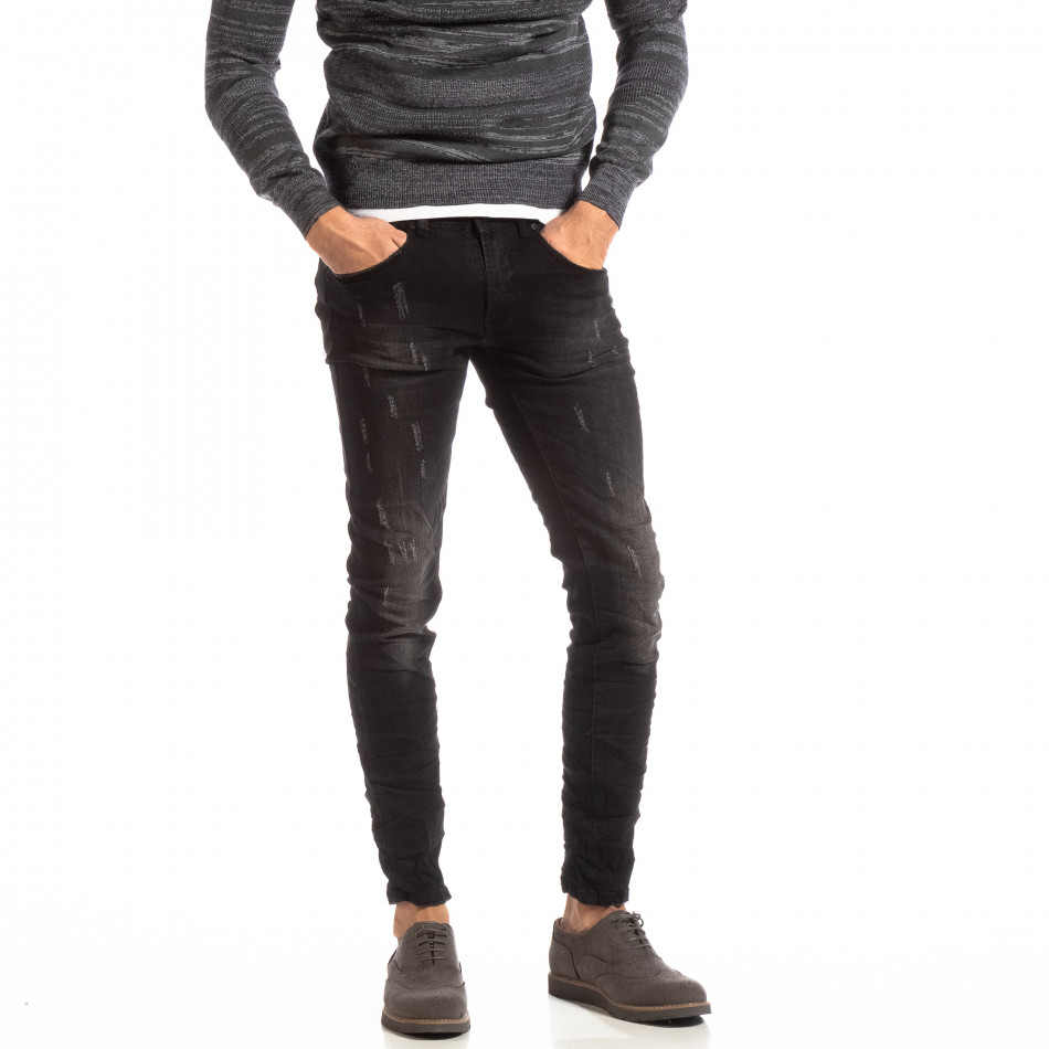 Намачкани мъжки дънки в черно Slim fit it261018-9