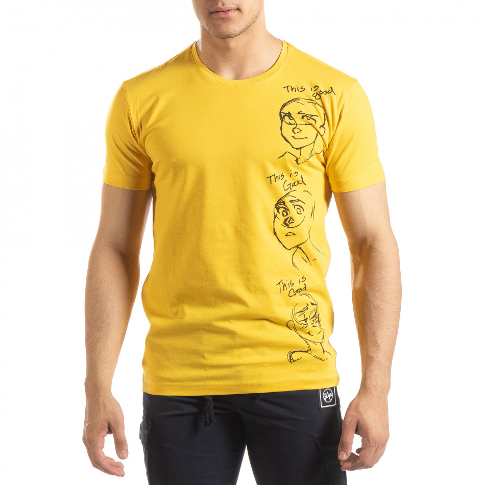 Жълта мъжка тениска забавен принт it150419-56