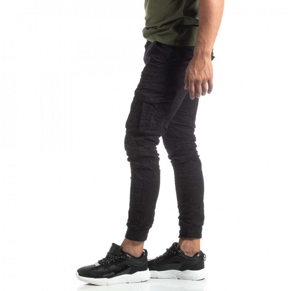 Мъжки намачкан панталон Cargo в черно it170819-17