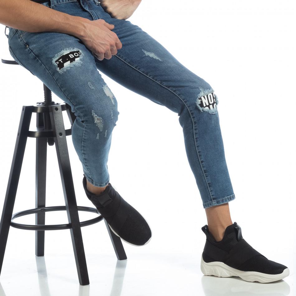 Сини мъжки дънки с принт кръпки it040219-5