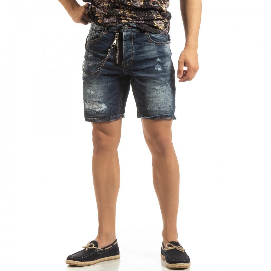 Прокъсани мъжки къси дънки със синджир it090519-44