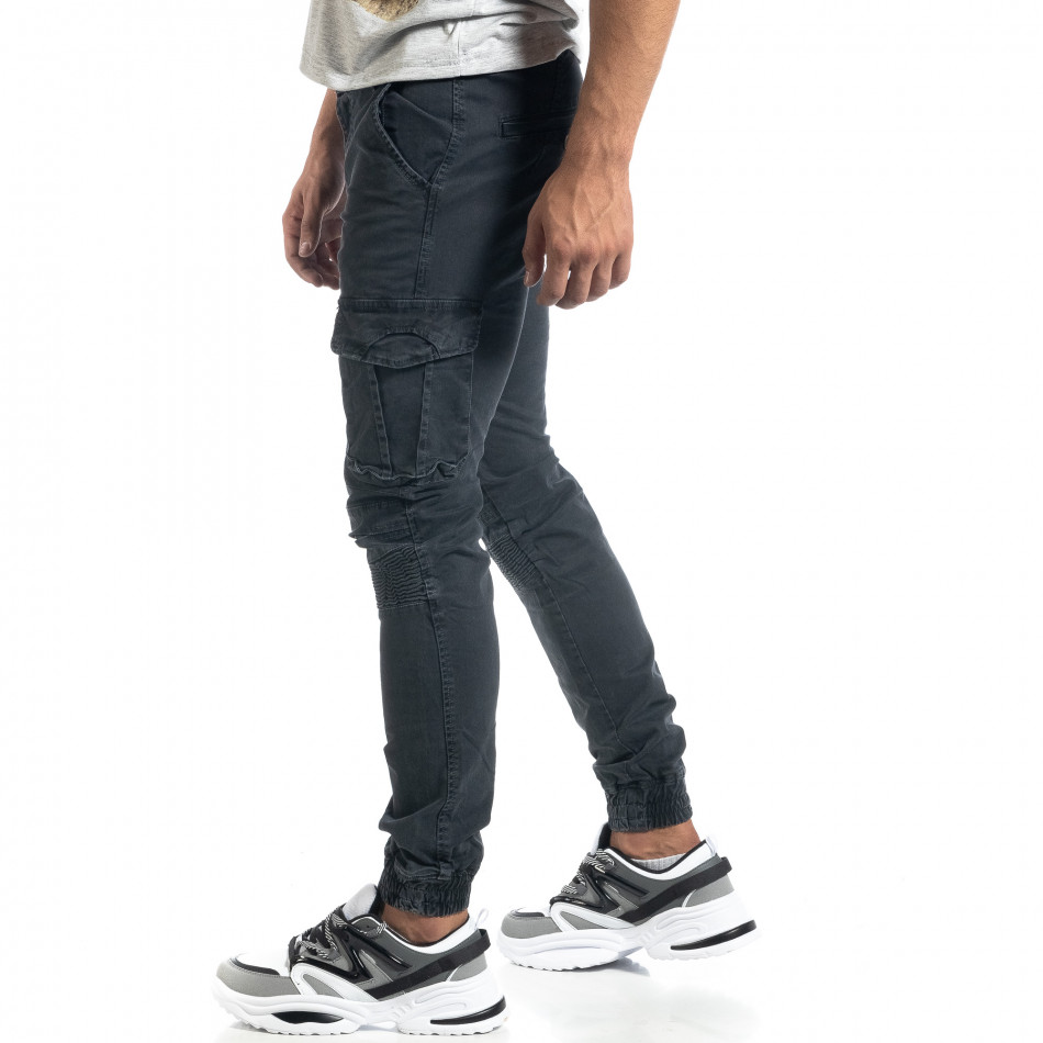 Мъжки рокерски карго панталон в сиво it041019-41