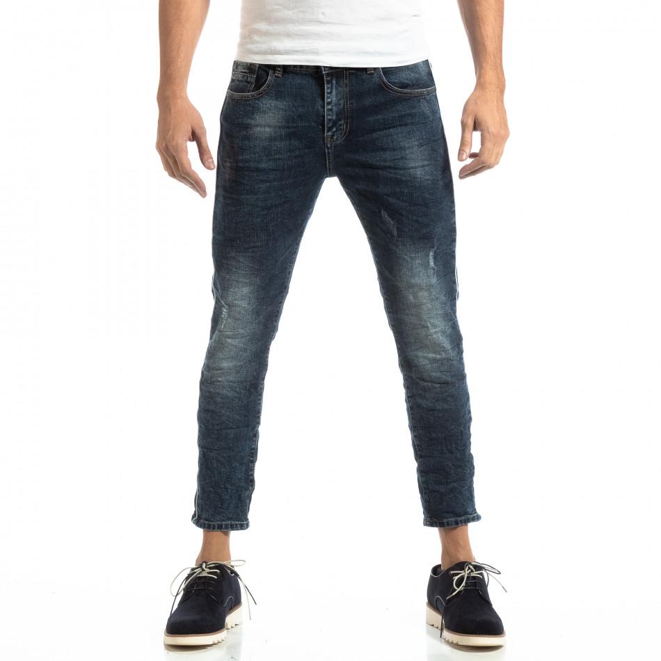 Сини мъжки дънки с фин кант it261018-10