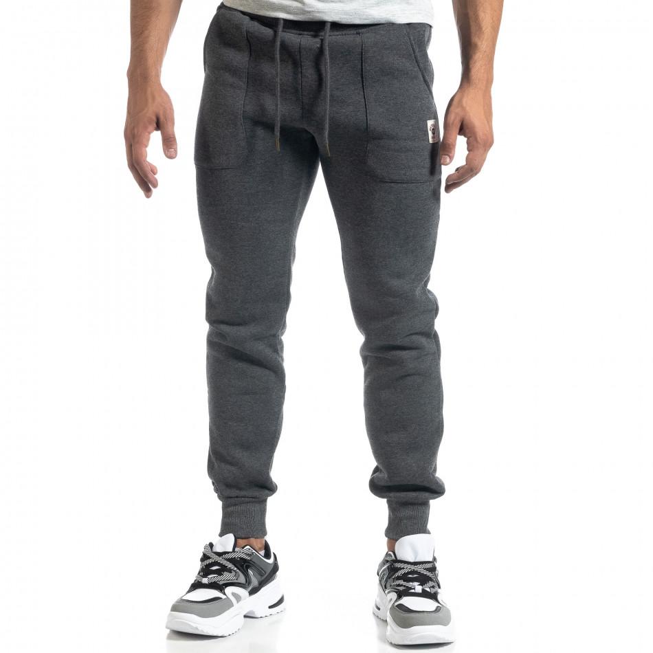Мъжко сиво долнище с апликирани джобове it041019-13