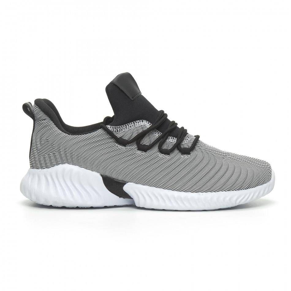Мъжки ултралеки маратонки Wave дизайн черно и бяло it100519-5